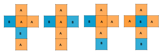 Quattro sviluppi di un cubo colorato con due colori
