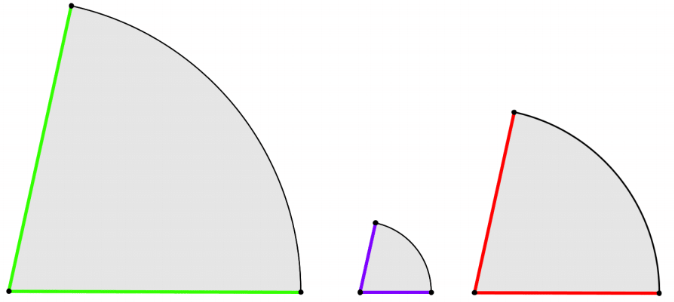 Costruire un cono - tre settori circolari con raggi diversi ma stesso angolo al centro