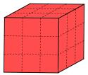 Un cubo, colorato di rosso, affettato in modo da formare 27 cubetti - problema di avvio all'algebra e al pensiero computazionale che parte dalla geometria 3d
