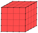 Un cubo colorato di rosso, affettato in modo da formare 64 cubetti