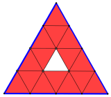 Triangolo equilatero suddiviso in 16 triangolini, a partire dalla divisione dei lati in 4 parti uguali, per un problema di avvio all'algebra