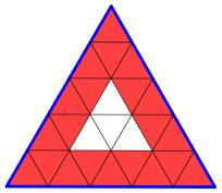 Triangolo equilatero suddiviso in triangolini, a partire dalla divisione dei lati in 5 parti uguali, per un problema di avvio all'algebra