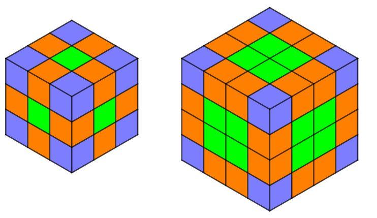 Un cubo diviso in 27 cubetti e un altro cubo diviso in 64 cubetti.