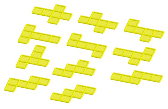 Animazione costruita con GeoGebra che illustra gli 11 sviluppi piani del cubo