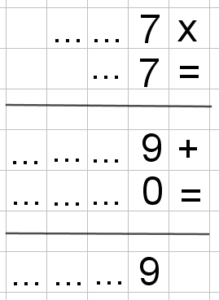 """Incolonnando una moltiplicazione ci si accorge che la cifra delle unità del prodotto dipende solo dalle cifre delle unità dei fattori. Immagine per il problema """"L'ultima cifra"""", a proposito di potenze e di aritmetica modulare."""
