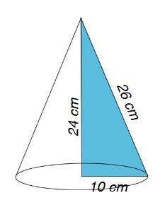 Cono con evidenziato il triangolo formato da raggio, altezza e ipotenusa