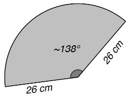 Superficie laterale del cono con evidenziate le misure dei raggi e dell'angolo.