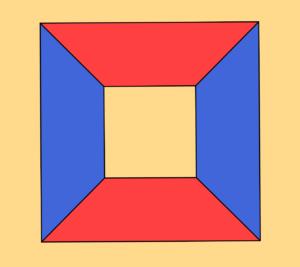 Proiezione stereografica di un cubo, con le regioni colorate con tre colori diversi