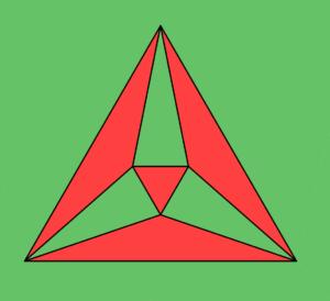 Proieione stereografica di un ottaedro, colorata a scacchiera