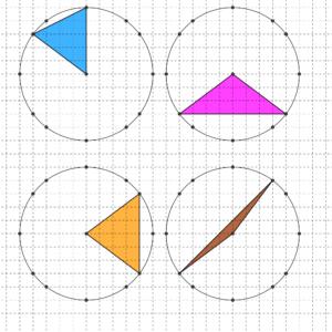 Quattro triangoli isosceli con due lati di 5 quadretti, disegnati su carta quadrettata, diversi da quelli presenti nel testo - Problema di geometria - Uguaglianza
