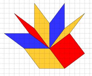 Rombi costruiti su carta quadrettata, aventi tutti i lati di cinque quadretti e un vertice in comune - Problema di geometria - uguaglianza