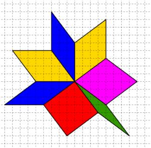 Rombi costruiti su carta quadrettata, aventi tutti i lati di cinque quadretti e un vertice in comune - Problema di geometria - Congruenza