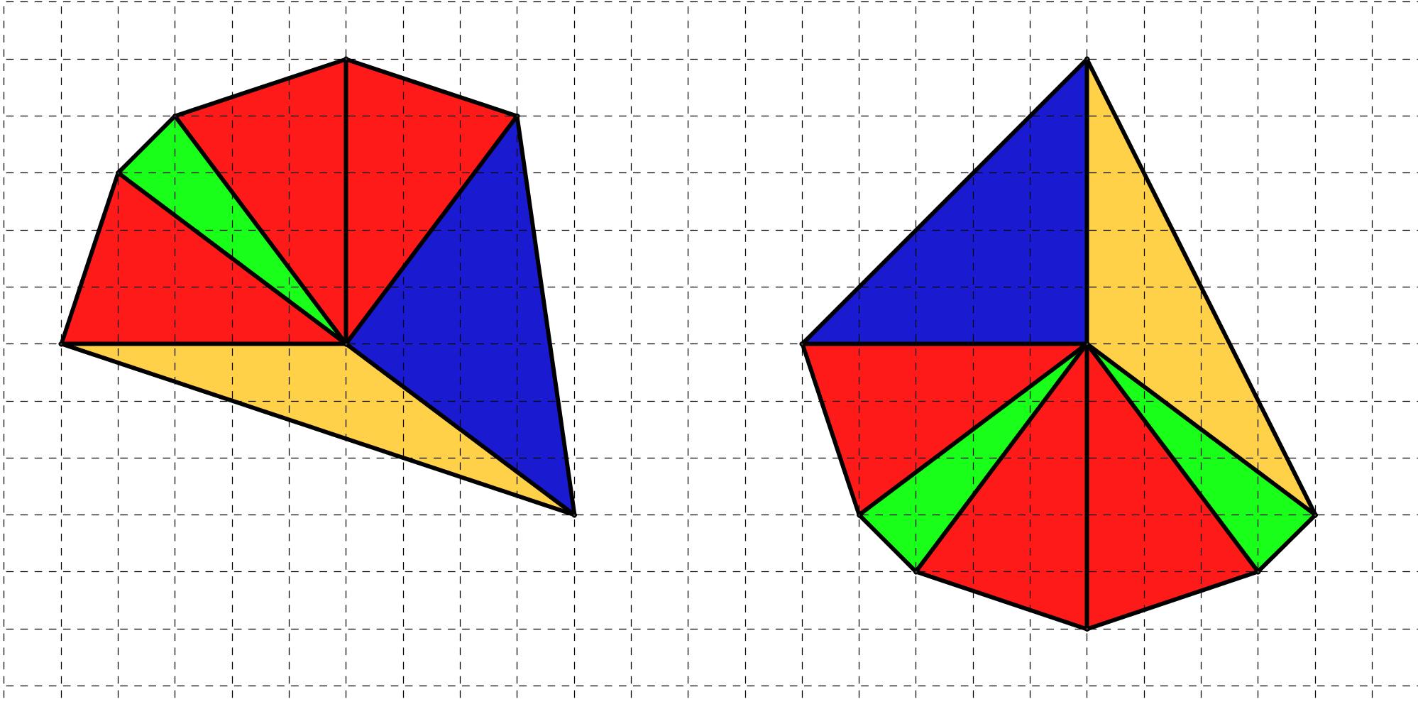 Disegni formati accostando triangoli isosceli, disegnata su carta quadrettata, con due lati lunghi 5 quadretti