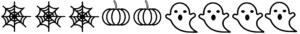 Modulo di 9 disegni: 3 ragnatele, due zucche e quattro fantasmi