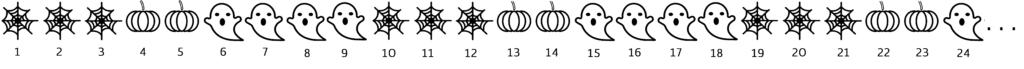 Fregio formato da un modulo di 9 figure che si ripetono con regolarità; ad ogni disegno è associato un numero naturale. Problema sul resto della divisione tra numeri naturali.