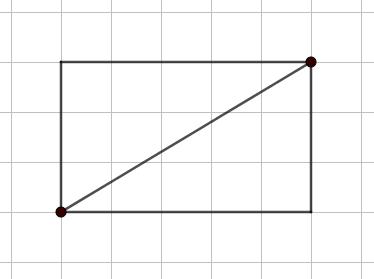 Disegno su carta a quadretti di un rettangolo 3x5: la sua diagonale non passa per altri incroci della quadrettatura (oltre ai suoi estremi) - Problema sul MCD