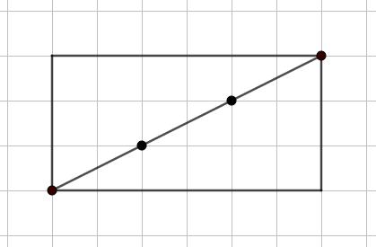 Disegno su carta a quadretti di un rettangolo 3x6: la sua diagonale passa per altri due incroci della quadrettatura (oltre a quelli che sono i vertici del rettangolo) - - Problema sul MCD