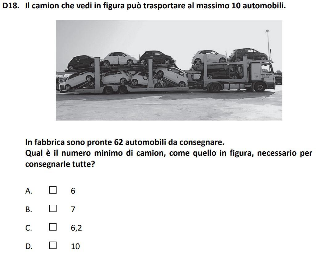 """Un problema di aritmetica che spinge i ragazzi a riflettere sulla divisione nell'ambito dei numeri interi e che può favorire un avvio al pensiero computazionale. I testo contenuto nell'immagine è il seguente: """"Un camion può trasportare al massimo 10 automobili. In fabbrica sono pronte 62 automobili da consegnare. Qual è il numero minimo di camion necessario per consegnarle tutte?"""""""