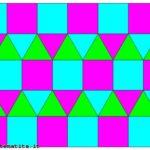 Una tassellazione uniforme in cui in ogni vertice arrivano, in questo ordine, 3 triangoli equilateri e due quadrati. Si può indicare con (3,3,3,4,4).