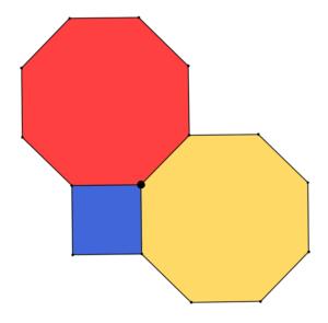 Due ottagoni regolari e un quadrato con un vertice in comune. Problemi con tassellazioni e frazioni