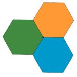 Tre esagoni regolari con un vertice in comune. Problemi con tassellazioni e frazioni