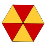 Sei triangoli equilateri, con un vertice in comune. Problemi con tassellazioni e frazioni