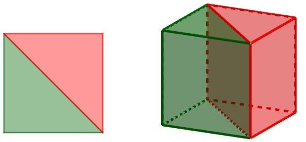 Il cubo è diviso da un piano passante per due suoi spigoli opposti in due prismi a base triangolare - immagine per un problema di geometria 3d sulla simmetria