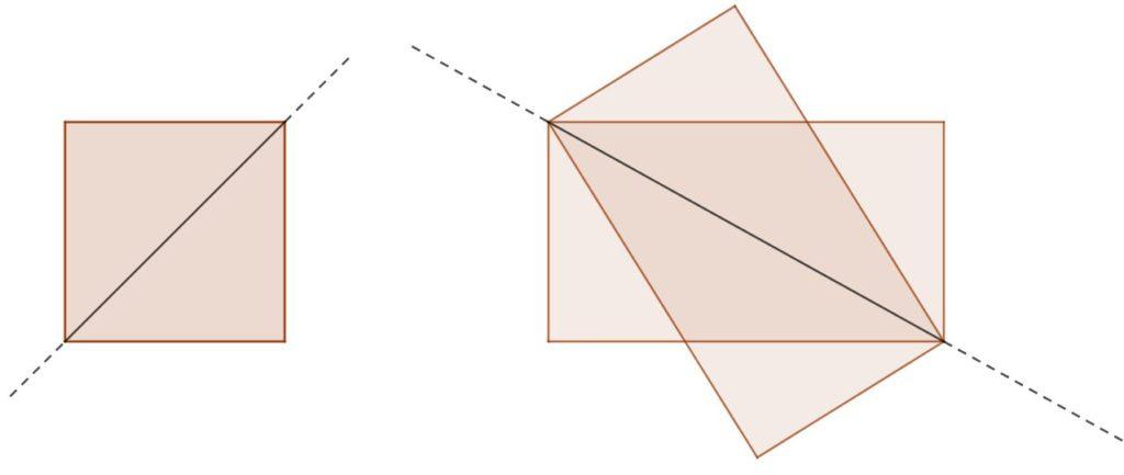 La diagonale di un quadrato è un suo asse di simmetria; ciò non vale per un rettangolo qualsiasi - immagine per un problema di geometria 3d sulla simmetria