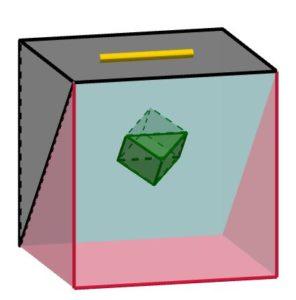 Immagine che illustra in che posizione è inserito lo specchio dentro al salvadanaio magico.