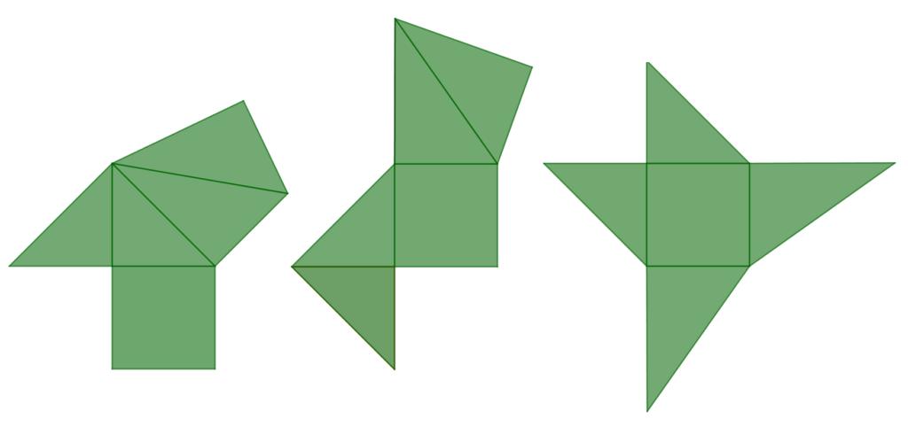 tre possibili sviluppi piani della piramide