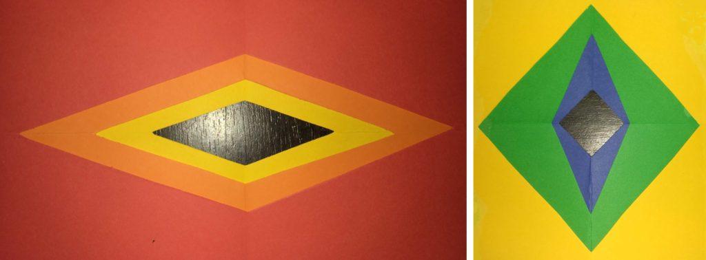 Questa immagine rappresenta le due cornici presentate nel video-problema: una costruita con rombi simili tra loro, l'altra fatta di rombi che non sono simili tra loro.