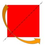 Piegando un foglio di forma quadrata lungo una delle diagonali, i vertici opposti che non stanno sulla piega vanno a sovrapporsi - problema sulla simmetria dei quadrilateri