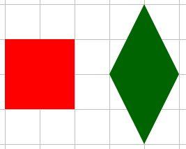 """Un quadrato e un rombo disegnati su carta a quadretti; spesso i ragazzi sono convinti che le parole """"rombo"""" e """"quadrato"""" indichino due forme diverse."""