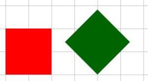Due quadrati disegnati su carta a quadretti, il primo con i lati paralleli alle linee della quadrettatura, l'altro no: il primo quadrato è riconosciuto come tale da tutti gli alunni della suola media; il secondo - invece - spesso è riconosciuto come rombo, ma non come quadrato.