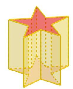 L'immagine rappresenta un prisma retto con una stella a cinque punte come base.