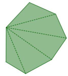 L'immagine rappresenta un ettagono diviso in 5 triangoli dalle 4 diagonali uscenti da uno dei suoi vertici.