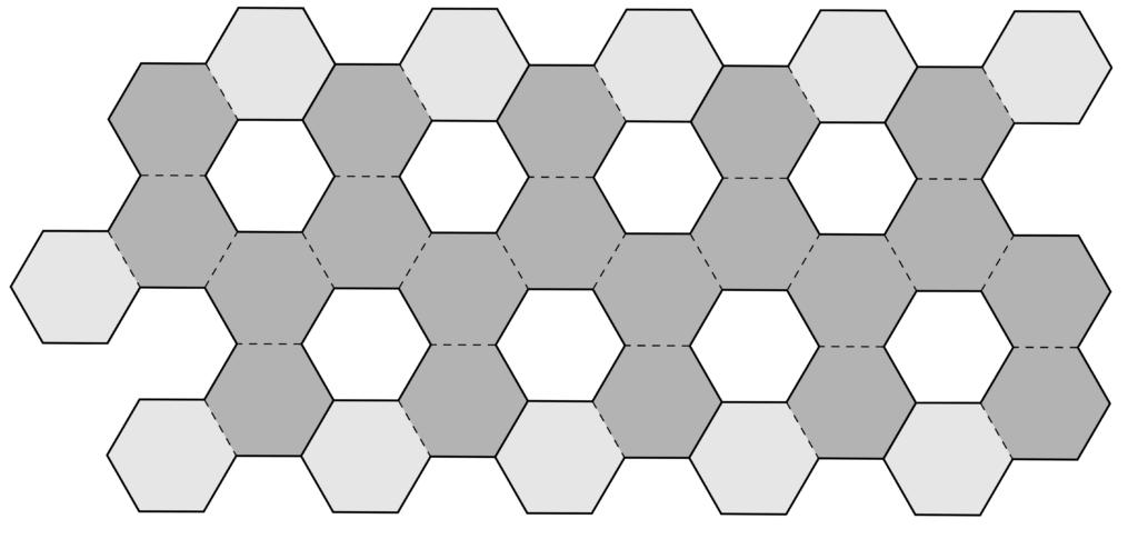In questo reticolo sono evidenziati con due colori diversi gli esagoni che vanno incollati su altri esagoni.