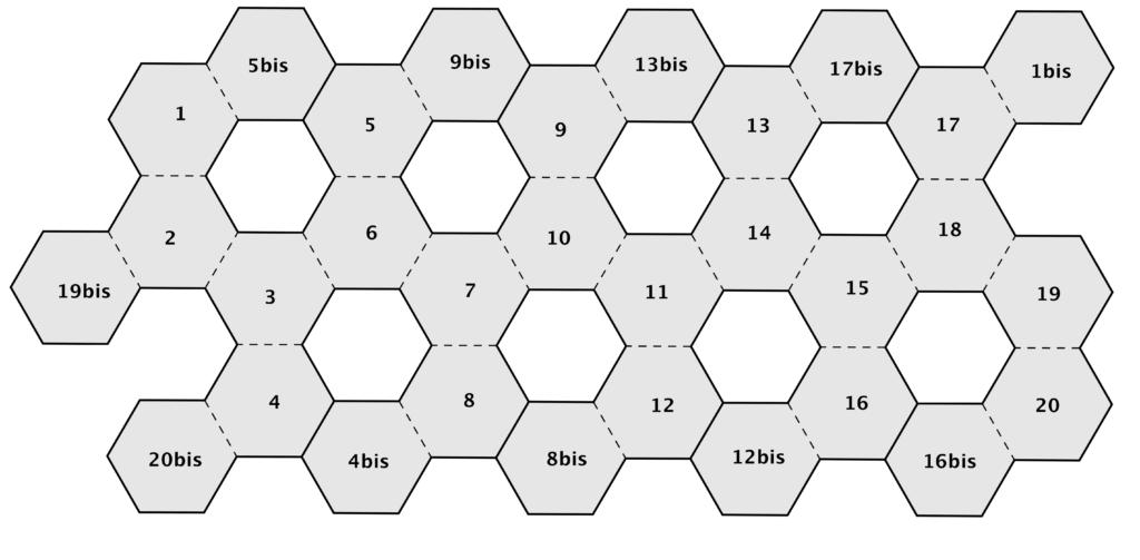 In questo reticolo gli esagoni da incollare uno sull'altro sono indicati con lo stesso numero.