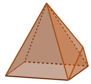 Esempio di un poliedro con 11 spigoli (ottenuto appiccicando una piramide a base triangolare ad una delle facce laterali di una piramide a base quadrangolare).