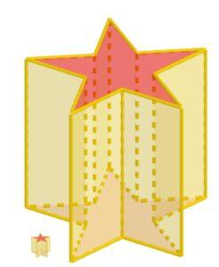 Un prisma retto con la base a forma di penta-stella regolare, accostato a un prisma del tutto simile, ma in rapporto di similitudine 1:10