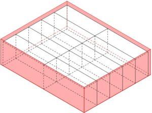 Una scatola di dimensioni 7,2 cm x 5,7 cm x 1,9 cm riesce a contenere 10 gomme di dimensioni 3,5 cm x 1,8 cm x 1,1 cm (disegno).