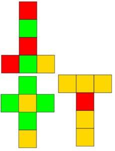 Tre sviluppi piani del cubo, con i quali costruire tre dadi da gioco con le facce colorate; ogni colore ha una probabilità diversa di uscita, a seconda del dado che si decide di tirare.