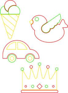 Quattro disegni (una corona, un uccellino, un cono gelato e un'automobile) da colorare con colori diversi, a seconda di quelli che compariranno sui dadi da gioco. I disegni originali sono di Pietro Cazzago.